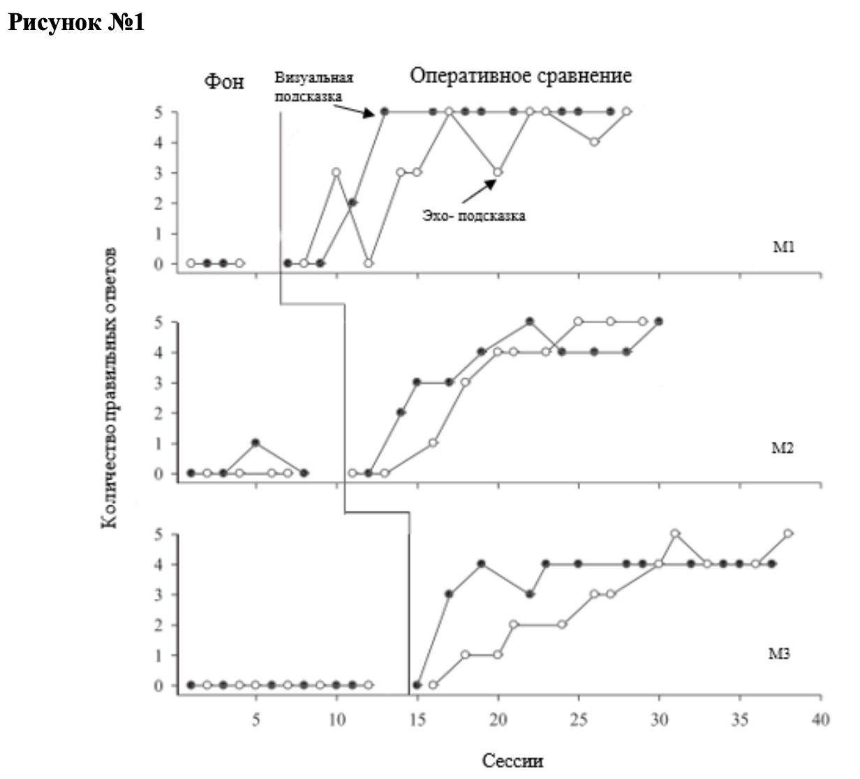 Сравнение эффективности DTT с использованием визуальной и эхо-подсказки при обучении навыкам диалога детей с РАС